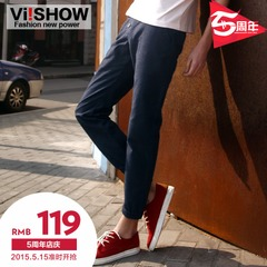 Viishow2015 spring and autumn leisure trousers new men's straight leg pants slim trousers with bound feet in England men pants boom