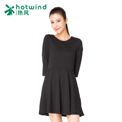 Hot spring and autumn new sweet slim slimming crew neck bow tie Halter cropped sleeve dress 19H5704