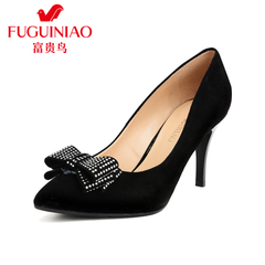Rich bird fall 2015 new leather shoes stiletto high heel shoes women Red Bow wedding shoes women