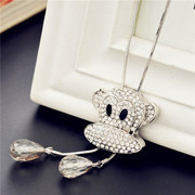 Love jewelry Korea cute hip hop fashion monkey women winter long pendant necklace sweater chain-mail