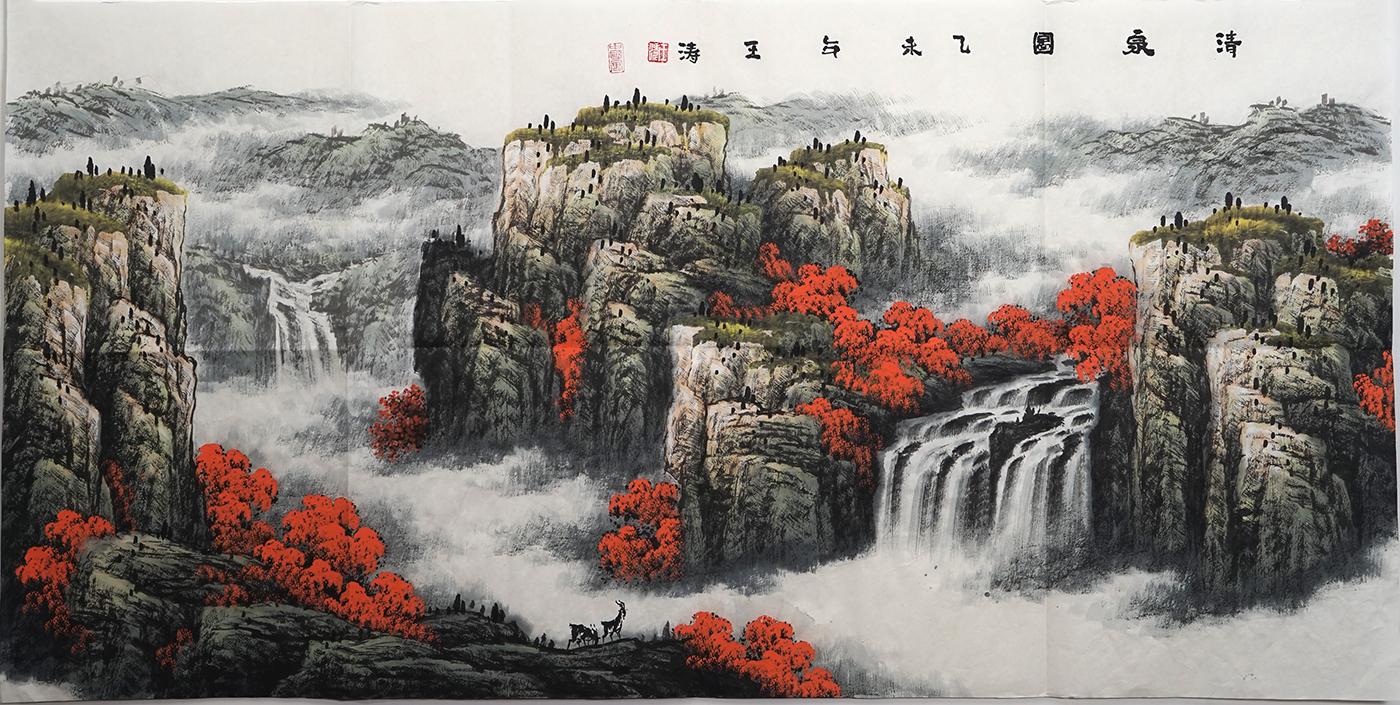 四尺国画山水画 听泉图 手绘国画 王涛字画932