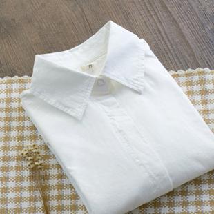 2020秋季新品纯棉长袖白衬衫女装学院风修身职业装打底衫衬衣上衣图片