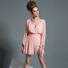 Europe Spring new style sexy cutout long sleeve v neck drape chiffon one-piece shorts high-waisted jumpsuits elegance 9206