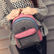 Wild mini backpack girl Korean version Pu color nubuck leather satchel mosaic clean minimalist bag