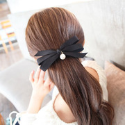Know Connie hair accessories Korean Ribbon Pearl hairpin sweet solid color pony tail clip spring clip clamping head jewelry