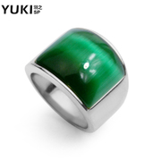YUKI domineering men''s titanium steel rings ring finger ring retro hipster cat eye gemstones Europe Club accessories