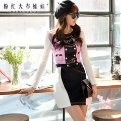 Print dress big pink doll 2015 autumn new products women's t-Korean slim long sleeve dress