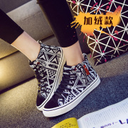 New national wind in autumn and winter plus velvet sneakers women shoes-Korean version flows zipper flat-bottom warm student lacing