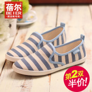 Betty light canvas shoes women's shoes shoes of lazybones Lok Fu shoes low cut shoes stripes tidal shoes spring/summer bag-mail