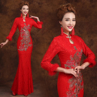 2015 new bridal wedding dresses fashion toast long sleeve long dress in autumn and winter lace cheongsam dress