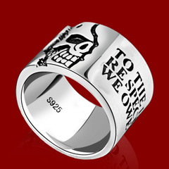 Motto 925 Silver men''s fashion ring-width index finger ring punk skull Thai silver wide ring