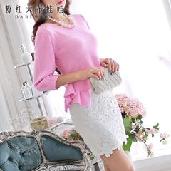 Big Pink doll-fall 2015 new pink solid parquet slim ruffled long sleeve knit pullover