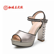Spider King girls shoes gold high heel shoes with buckle loop waterproof commuter temperament local gold ladies sandals