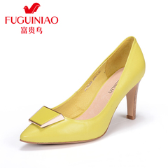 Autumn pointed side buckle fuguiniao shoes with genuine leather shoes heels sexy stiletto shoes