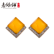 Shop old Silver 925 and white fungus nails female Thai national wind spring/summer fashion jewelry Topaz myeloid white fungus nail earrings Joker