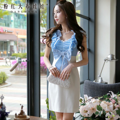 Summer pink dress doll spell OL self-cultivation 2015 new ladies blue and white striped dress