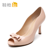 Shoebox shoe new Korean female shoes with very high heels bow peep toes shoes 1115202206