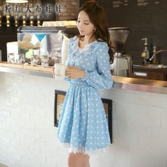 Lace dress big pink doll 2015 autumn new style women's printed and put on your waist slim dress