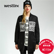 Westlink/West New 2015 winter letter printing baseball collar of long wool coat women's coat