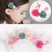 Know Richie children''s hair accessories and burnishing Pearl Camellia flower hair clips baby card edge clips of girls jewelry