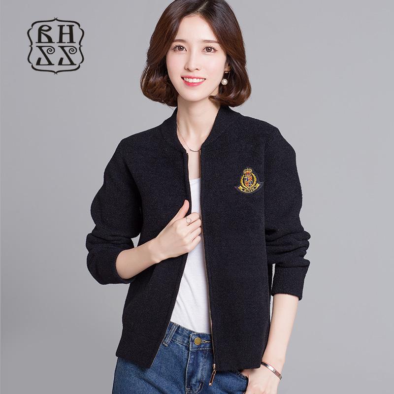 绒皇至尊女装短外套春季韩版棒球服女士针织开衫拉链纯色女式夹克