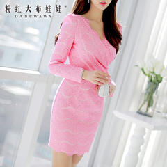 Long sleeve dress big pink dolls 2015 spring new lace sweet slim slimming dresses