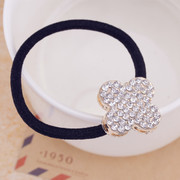 Korea hair accessories rhinestone Velvet rope bow hair band hair flower-Korean edition buckle