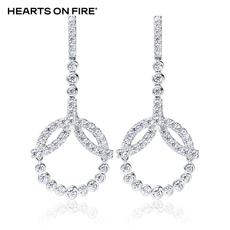 「HOF」Hearts On Fire 新品白色18K金钻石耳钉UU 114