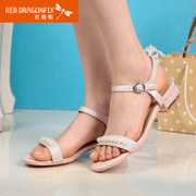 Red Dragonfly summer new genuine leather women sandal 2015 thick comfortable Sheepskin beaded shoes