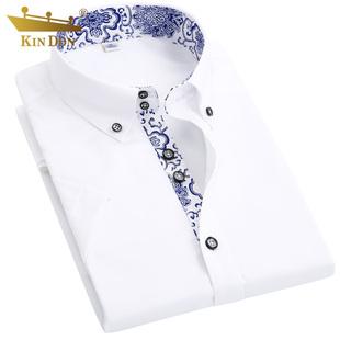 夏季新款男士短袖衬衫丝光棉男装衬衣纯棉韩版修身商务时尚寸衣