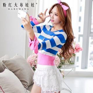 Cardigan women's pink doll spring 2015 spell slim new ladies blue knitted sweater coat