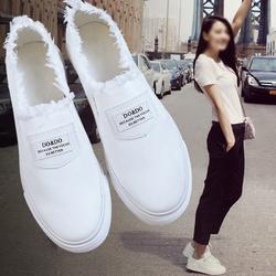 2017新款夏季小白鞋韩版女鞋帆布鞋百搭板鞋学生布鞋一脚蹬懒人鞋