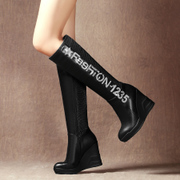 Strange love wedges fall/winter women boots high heel platform boots with flat skinny stretch boots boots with platform