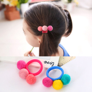 Know Richie children''s hair accessories Korea woolen balls tied elastic rope color circle made by the ball girl hit head ornaments