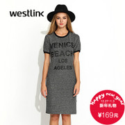 Westlink/West fall 2015 new casual letter t-fitting long dress dresses