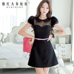 Spring dress big pink doll 2015 new Korean version of the slim waist temperament woolen dresses women