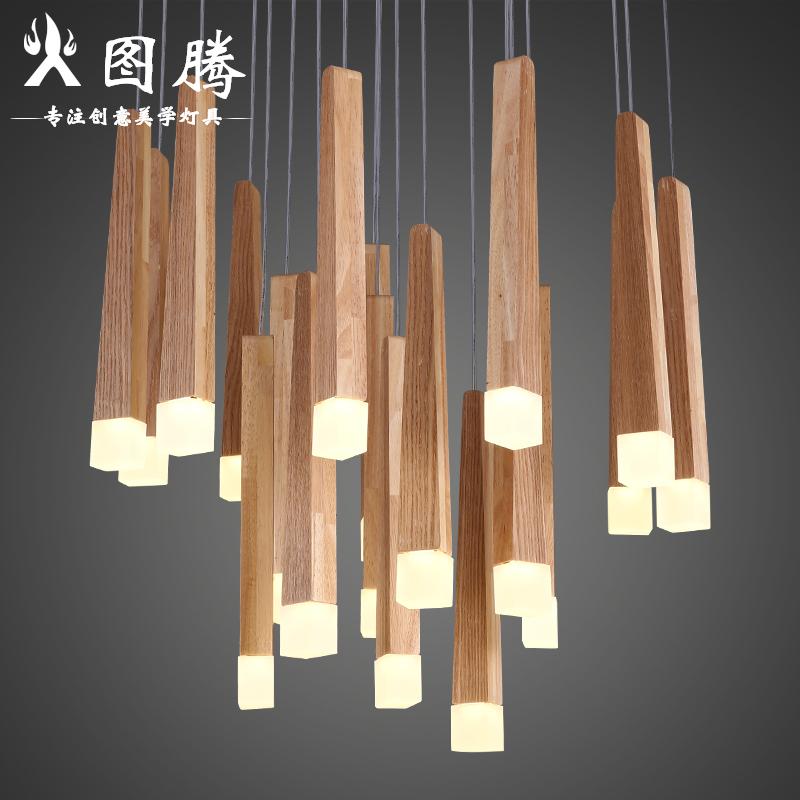 北欧木艺流星雨客厅吊灯简约创意个性设计师艺术灯餐厅实木条灯具