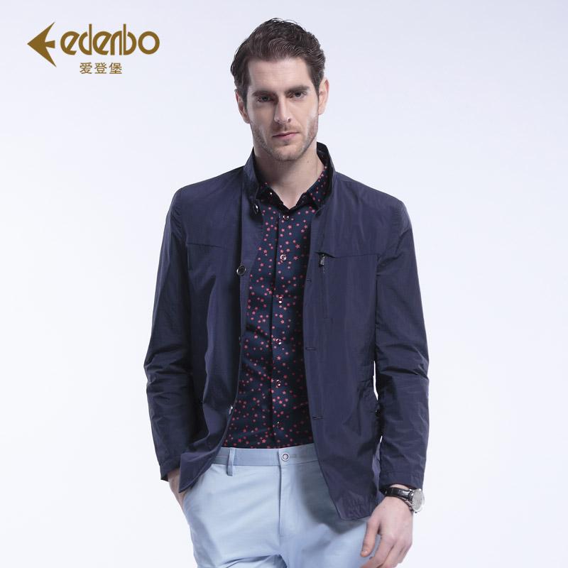 Edenbo/爱登堡男士派克2016春装新品商务休闲中长款派克印花外套