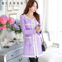 Ladies winter coat-pink coat of new wave with lace in the Korean version of the doll long padded coat women