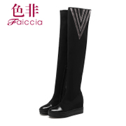 Faiccia/non 2015 winter new counters increase women genuine leather round head boots 2F05