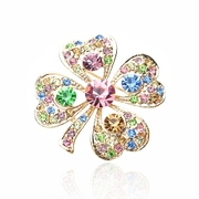 Ya na Crystal four leaf clover pin Korean chest flowers full Rhinestone Pins boutique accessories