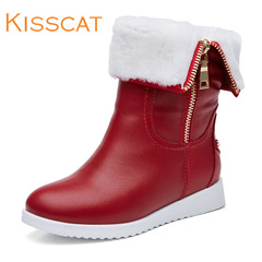 Kiss cat autumn 2015 new low leather boots with kisscat short tube with flat round head short boots snow boots