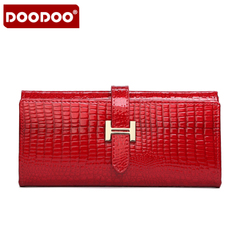 Doodoo ladies long crocodile pattern leather wallet purse Korean cross thin card wallet wallets