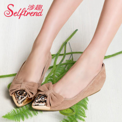 Fun new spring-related atmospheric rhinestone bow shoes fashion Sheepskin leather high shoes T01013