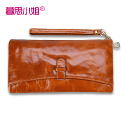 Wax leather woman of twilight thought Miss retro long Korean header layer of leather large leather women's wallet purse