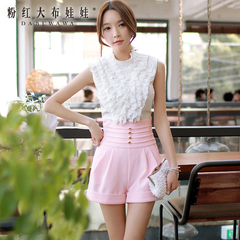 Trousers big pink doll summer 2015 new gold buckle wild hot pants slim fit flange high waist shorts, female