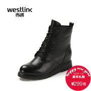 2015 West winter new style leather thick round head with Martin short boots high boots in women's shoes at the end of boom