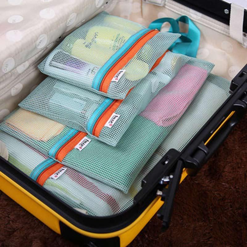 网格旅行收纳袋套装 出差旅游衣物分类四件套 可视衣服整理包