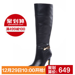 KISSCAT kissing cat 2015 winter new products leather stiletto boots BLK women's boots in Europe and America D44887-06