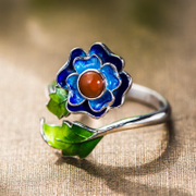 Japanese and Korean jewelry 925 Silver ladies Thailand open ring burn cloisonne blue flower ring new